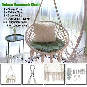 Round Hammock Swing Hanging Chair Outdoor Indoor Dormitory Bedroom Hanging Chair For Child Adult Safety Hammock with accessories - DISCOUNT ITEM  0% OFF All Category