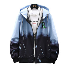 2021 New Fashion Double Faced Jacket Men's Korean Fashion Hooded Cool Gradient Sports Casual Coat