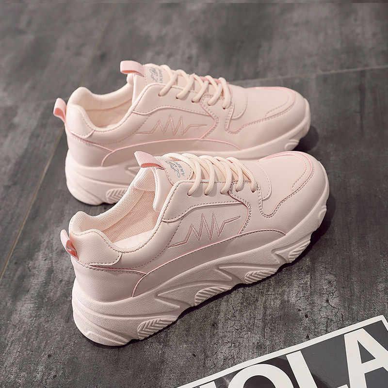 Delle donne di Inverno Caldo Aggiungere Sneakers In Cotone Bianco Autunno Piattaforma casual Cesto di rosa Runningg Scarpe scarpe Da Ginnastica Traspirante Scarpe Femme nuovo