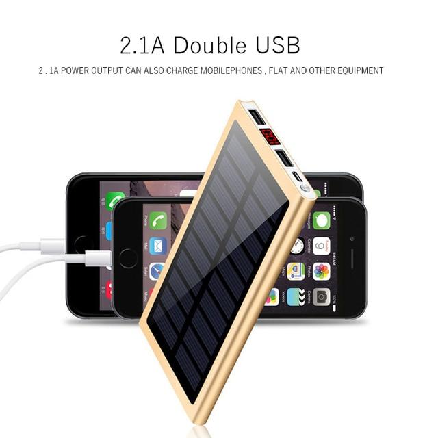 Solar Power Bank External Battery 2 USB LED Powerbank Portable Mobile phone Solar Charger for Xiaomi mi iphone XS 8plus 20000mAH 2