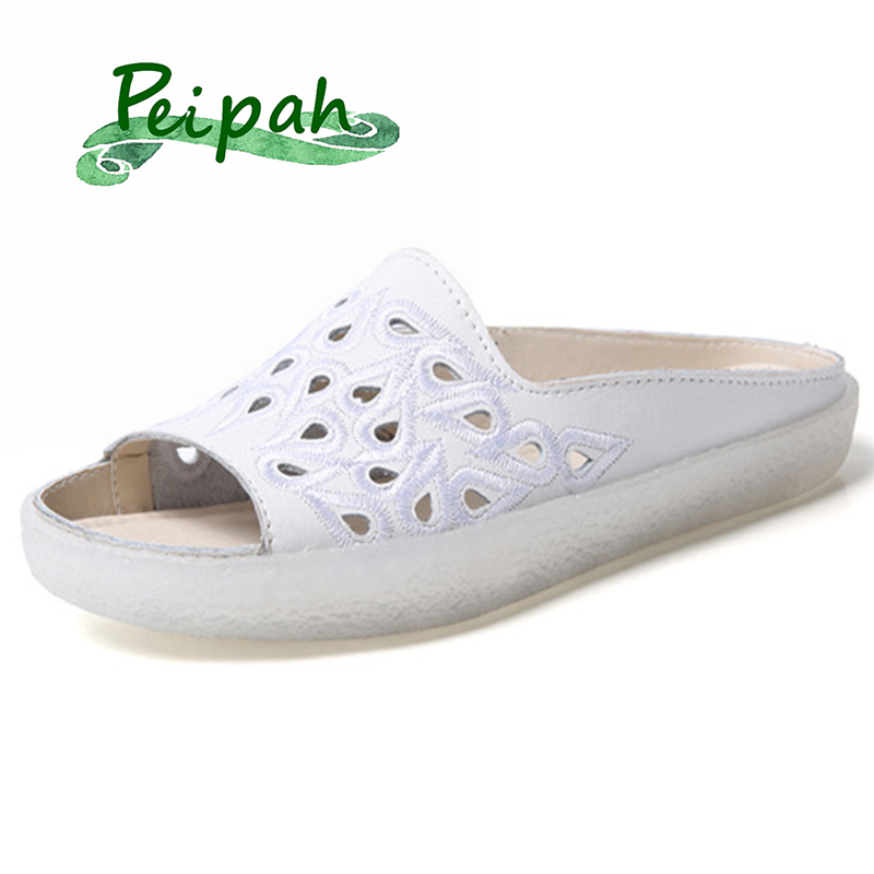 PEIPAH 2019 Genuine Leather Summer New Fashion Flat Slippers Short Women's Sandals And Slippers Wild Flat With Women's Shoes