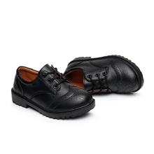 Children leather shoes kids black white school student perfo