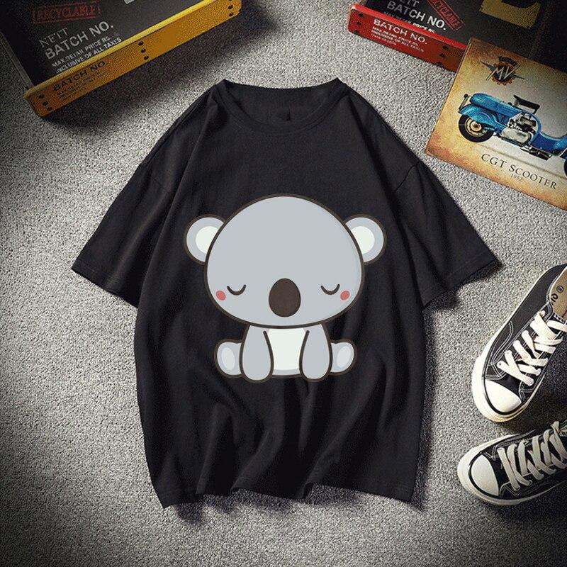 Kawaii Cute Koala Bear Graphic Tees Shirts Women Summer Short Sleeve O-Neck Casual Ladies Tee Tops Custom Summer Men T Shirt