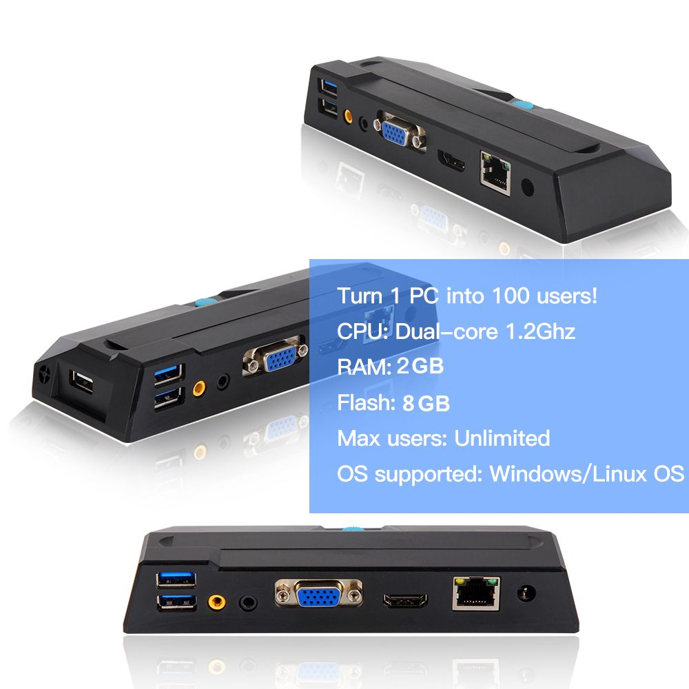 Hot Sale Thin Client X2 Dual Core 1.2GHz CPU 512MB RAM 4GB Flash Linux Mini PC Station