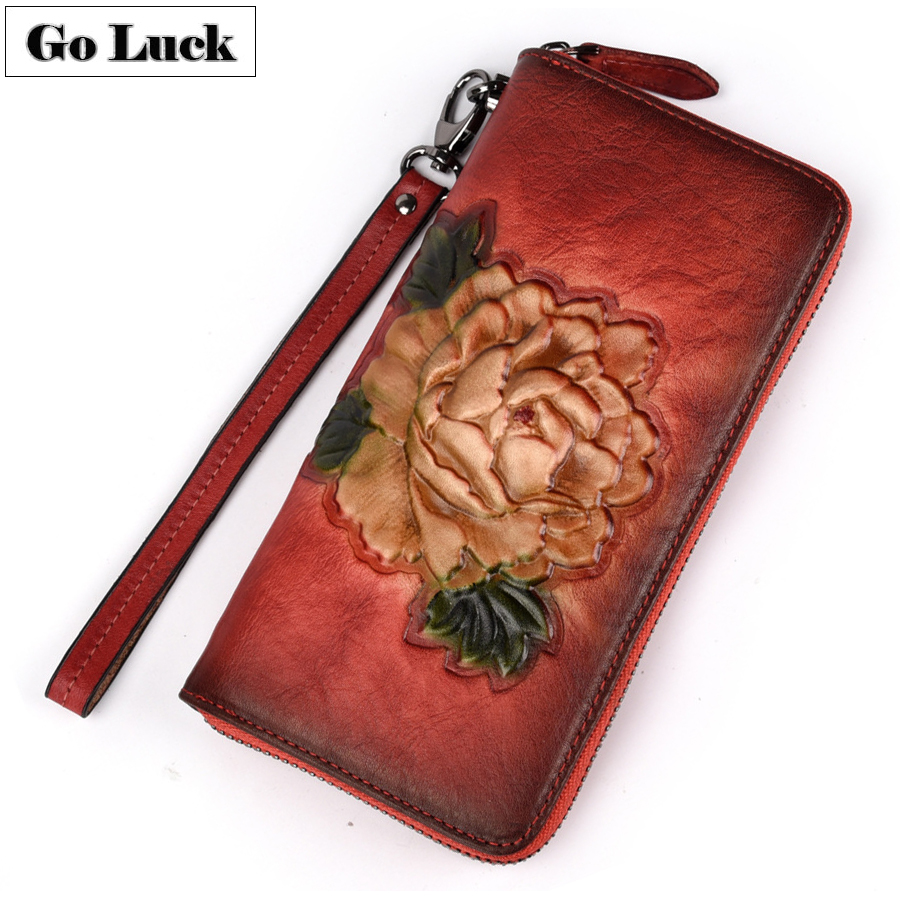 GO-LUCK Brand Genuine Leather Women Cell Phone Pouch Card Case Wristlet Wallet Women's Clutch Bag Ladies Cardholder Purse