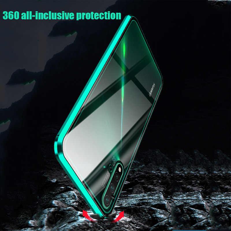 Magnetico Metallo Doppio Lato Cassa di Vetro Per Huawei Honor Nota 10 20 Lite Vista 20 P30 P20 Pro 8X 9X nova 5 5i 4 4E 3i Gioco 3 Della Copertura