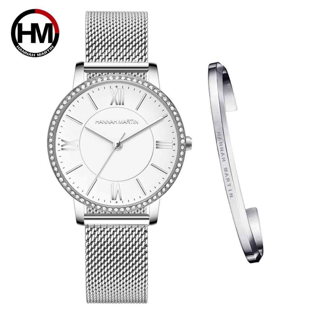 日本クォーツムーブメント高品質超薄型ハンナマーティン女性ステンレス鋼メッシュ防水レディース腕時計ドロップシッピング