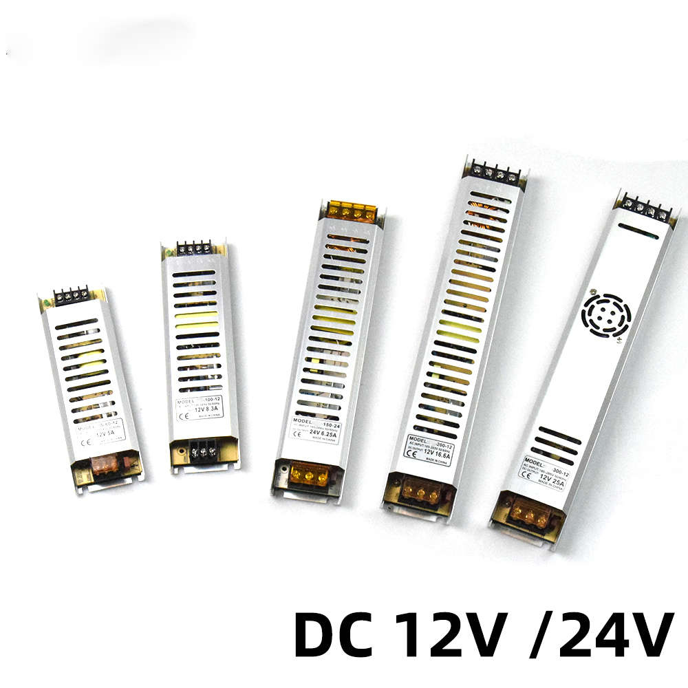 Ultra-Fino LED Power Supply DC12V 60W 100W 150W 200W 300W Adaptador LED Lighting transformador 220V 12V 24V Para Tira Conduzida
