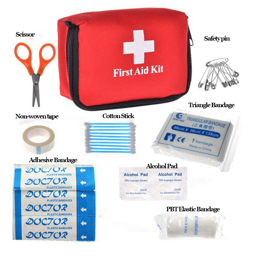 1Set Portable Red Large First Aid Storage Bag, Outdoor Travel On-board Car Camping Emergency Survival Medical Organizer Case