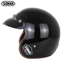Scooter Helmet Chopper Moto Open-Face Retro Vintage Goggles Half-Face-Kask Black Capacetes