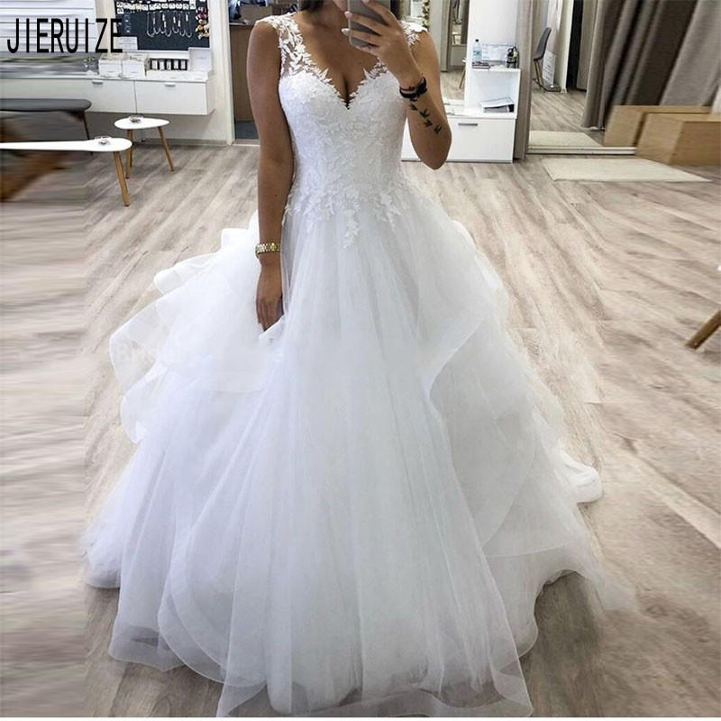 JIERUIZE New Wedding Dresses V-neck Appliques Tulle Tiered Skirt Bridal Dresses Lace Up Back Wedding Gowns Vestido De Noiva