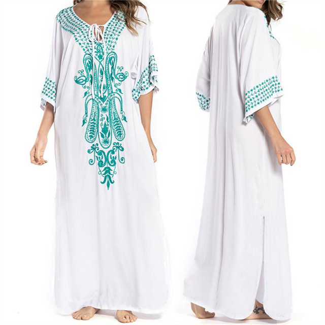 2021 Indie Folk Lace Up V-Neck Batwing Sleeve Summer Beach Dress  Tunic Women Beachwear kaftan Maxi Dress Robe Sarong N775 3