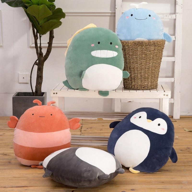 Hot New Super Soft Kawaii Panda Penguin Whale Plush Pillow Cartoon Animal Lion Lobster Dinosaur Stuffed Doll Bed Cushion Gift in Stuffed Plush Animals from Toys Hobbies