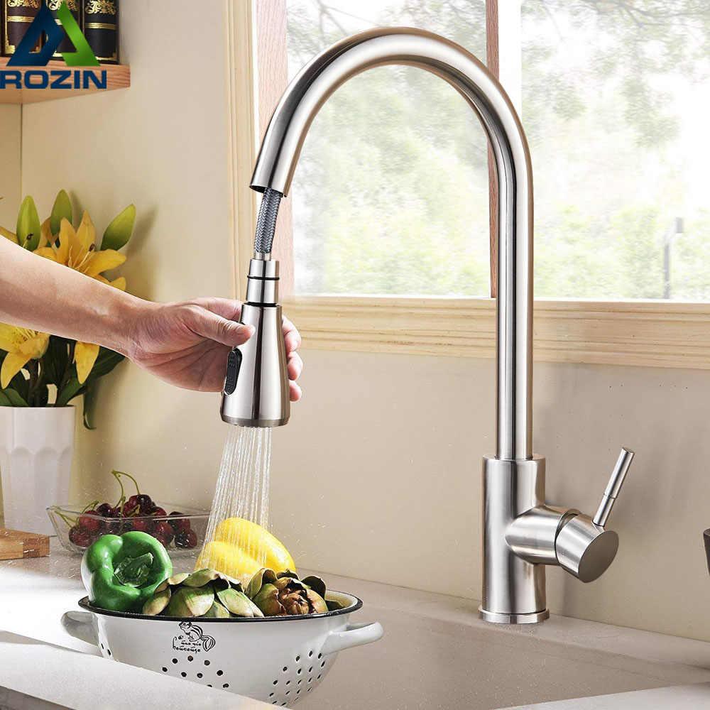 Brushed Nikel Mixer Faucet Single Lubang Tarik Keluar Cerat Wastafel Dapur Mixer Keran dengan Aliran Sprayer Kepala Chrome/Hitam keran Dapur