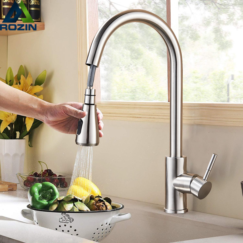 Rozin Brushed Nickel Mixer Faucet Single Hole Pull Out Spout Kitchen Sink Mixer Tap Stream Sprayer Head Chrome/Black Kitchen Tap