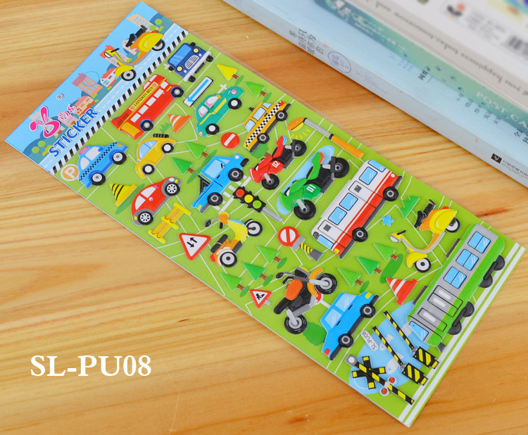 Details about  /3D Bubble Stickers Traffic Waterproof Cartoon Anime Funny Educational Toys