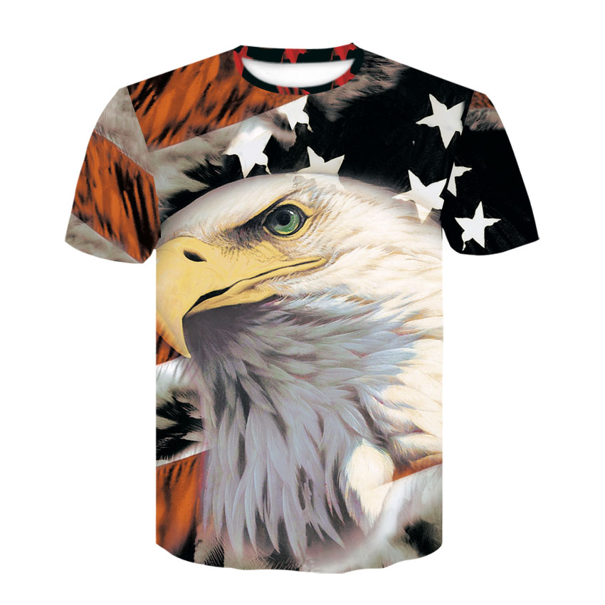 2020 New Summer Fashion men's Independence Day American Flag Eagle Motorcycle Pattern Shirt Casual T-shirt Male