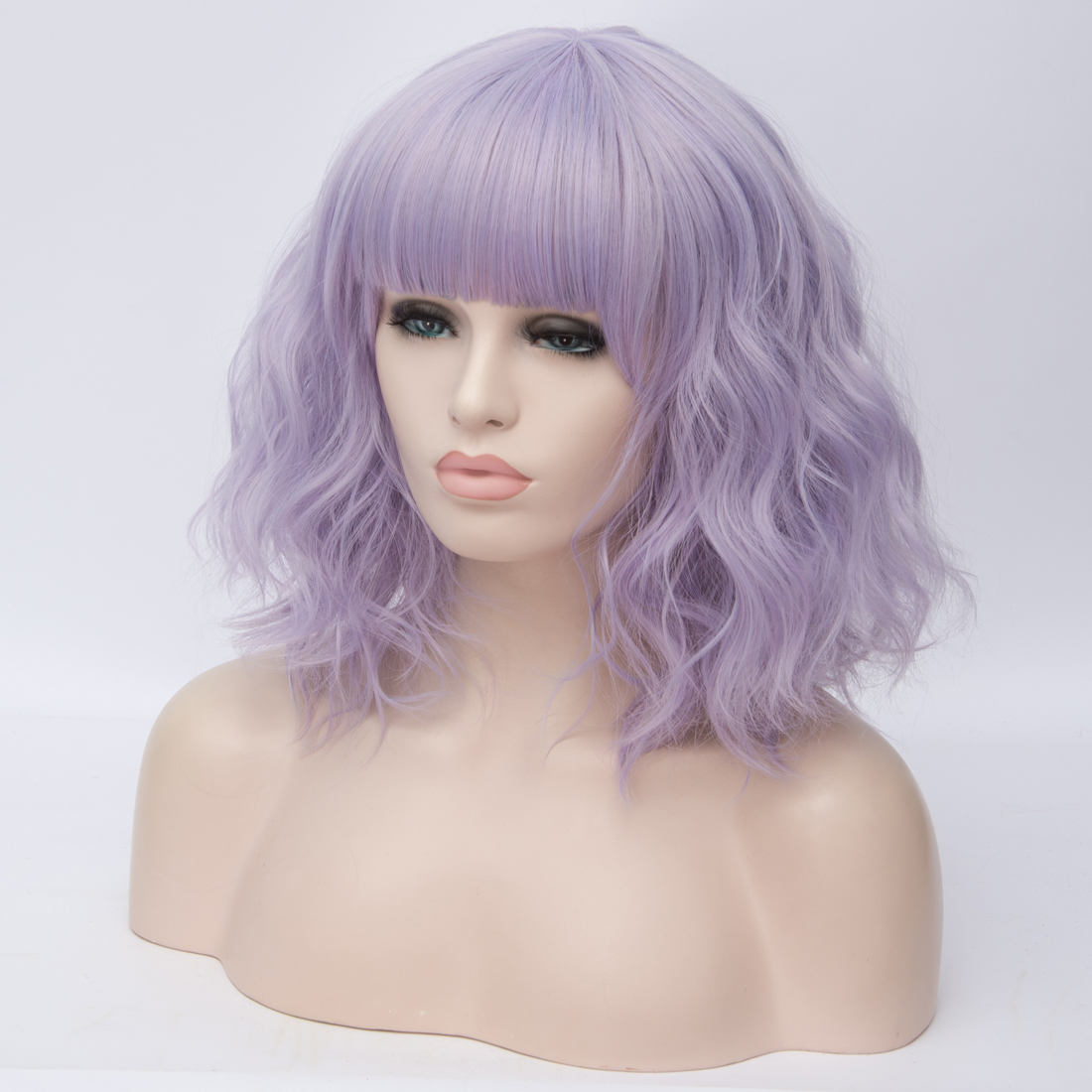H29374e1521d6499b8362bbabdcde3d26h - Similler Short Synthetic Wig for Women Cosplay Curly Hair Heat Resistance Ombre Color Blue Purple Pink Green Orange Two Tones