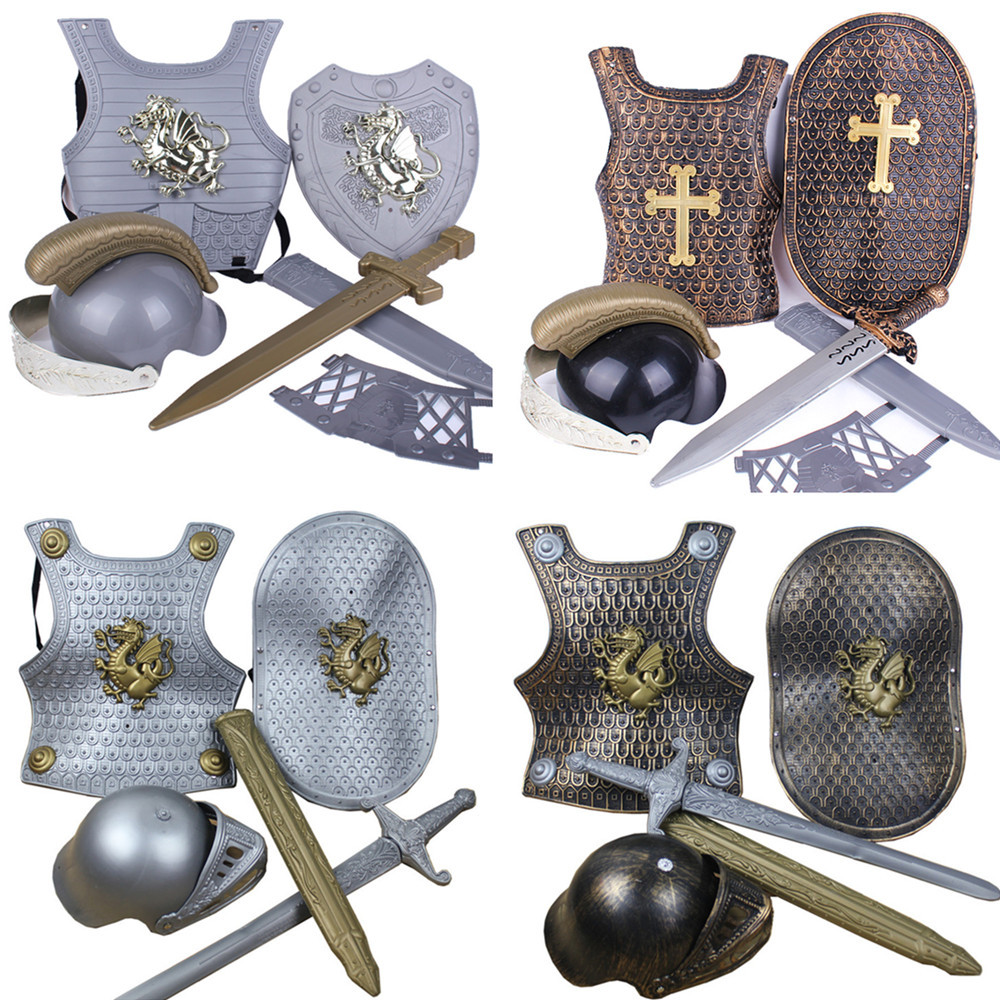 Halloween Children's Day Show Dress Up Armor Sword Warrior 4 Sets Armor Dragon Knight Equipment Battle Armor