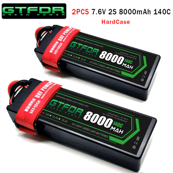 GTFDR 2PCS Lipo Battery 2S 7.4V 7.6V 5200mAh 6200mAh 6500mAh 8000mAh 100C 200C 140C 280C Graphene for RC Car Truck Truggy Tank gtfdr 2pcs 2s lipo battery 7 4v 7 6v hv 8400mah 7000mah 6200ma 5200mah 140c 280c 100c 200c 60c 120c 4mm for 1 8 1 10 road rc car