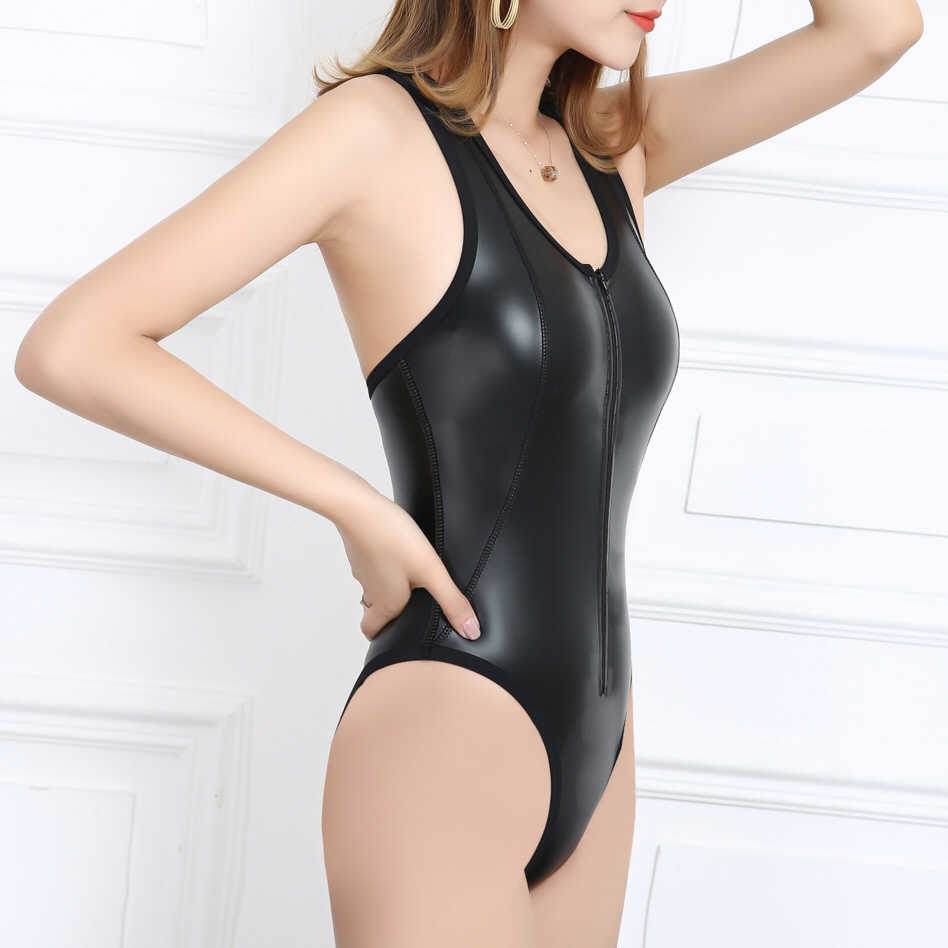 Drozeno 2020 neue frauen ein stück sexy schwarz weiches licht Pu badeanzug heißer frühling strand badeanzug tauchen anzug shiny badeanzug