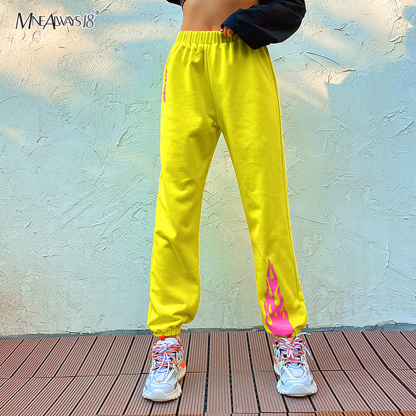 Mnealways18 Fire Print Yellow Trousers Harem Fashion Pants Winter Loose Sweatpants High Waist Pants Women Casual Streetwear 2020