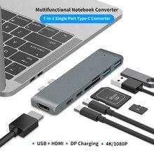 7 w 1 podwójny USB C type-c stacja dokująca do laptopa HDMI 4K TF czytnik kart SD PD USB Hub 3.1 dla Macbook Pro akcesoria powietrza