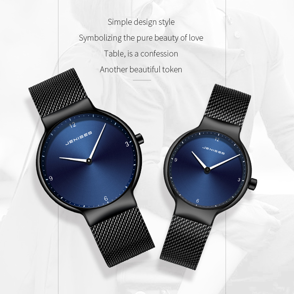 TEENRAM Paired <font><b>Couple</b></font> <font><b>Watch</b></font> <font><b>Men</b></font> <font><b>Watches</b></font> <font><b>Ladies</b></font> Quartz Lover's Wristwatch Fashion Steel Strap Relojes Relogio Luxury Sports Clock image