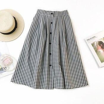 Women Classic Vintage Midi Skirts 2020 New Spring Summer Fashion Plaid Skirt Female A Line Single Breasted Skirt Faldas Mujer plaid a line midi skirt