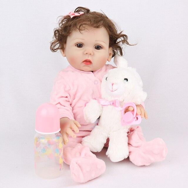 18Inch Bebe Reborn Baby Girl Dolls Full Body Silicone Vinyl Realistic Bebes Boneca Reborn for Girls Kids Birthday Christmas Gift 4
