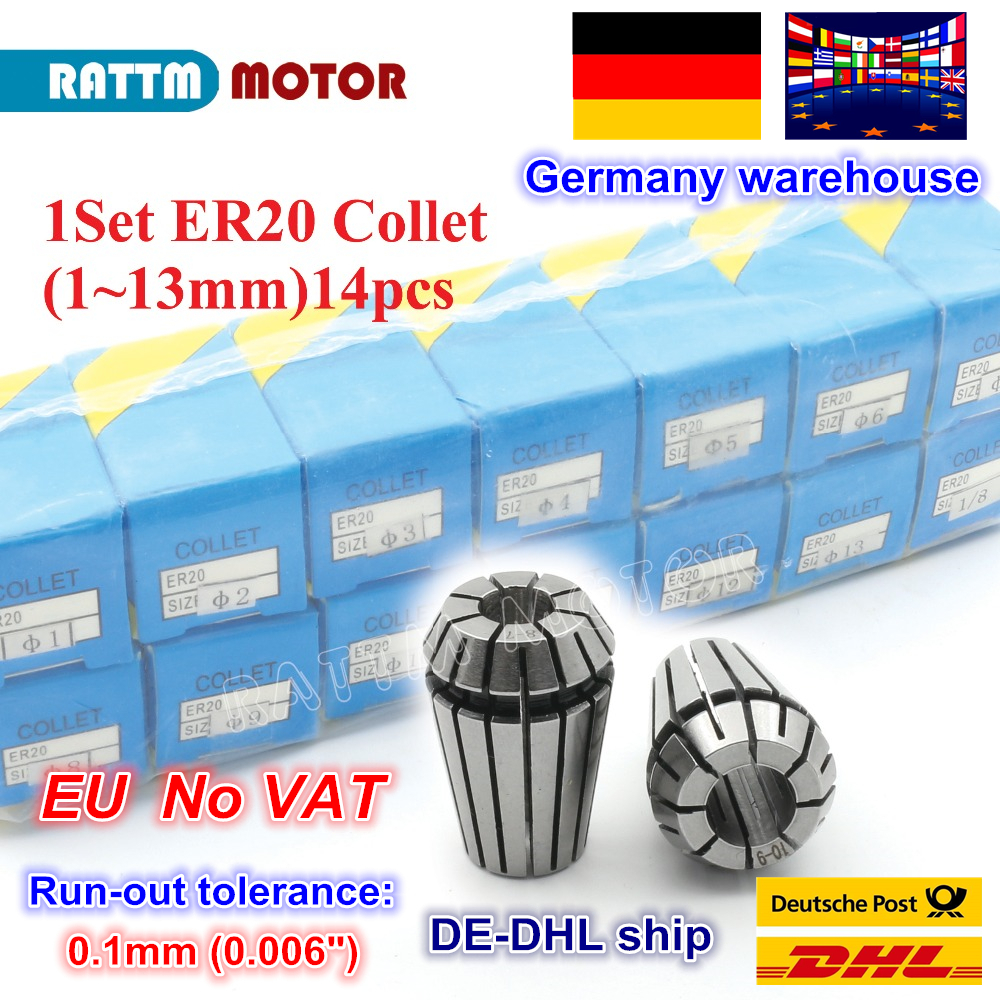 DE ship 1 set ER20(1 13mm) 14pcs collet beating 0.1mm precision spring collet for CNC milling lathe tool and  spindle motor|Tool Holder| |  - title=