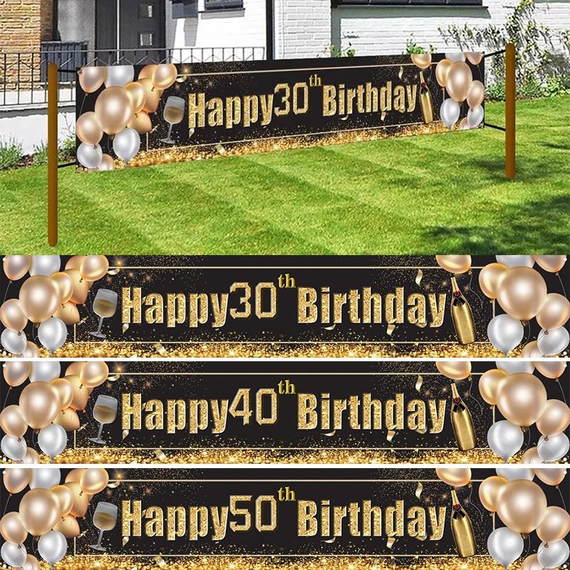 30 40 50 60 70, 80, 90, баннер на день рождения с 30th День рождения украшения для взрослых 40th 50th 60th принадлежности для юбилейной вечеринки
