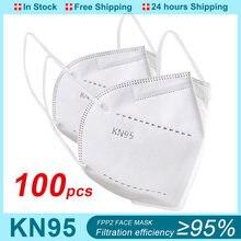 Mascarilla FFP2 KN95 de 5 capas con filtro reutilizable, máscara protectora para la boca, antigotas, KN95, CE, 100 Uds.