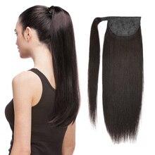 """Человеческие волосы """"конский хвост"""", прямые волосы Remy, европейские прически """"конский хвост"""", 60 г, натуральные волосы на заколках для наращивания, BHF"""