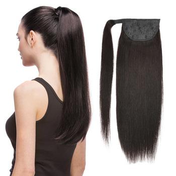 Kucyk ludzki włos maszyna Remy prosto europejski kucyk fryzury 60g 100g 100 naturalne włosy dopinki na klips BHF tanie i dobre opinie Proste Maszyna Stworzona Remy 60 g sztuka Ciemniejszy kolor tylko 1 sztuka tylko Clip-in Pure color Europejski włosów