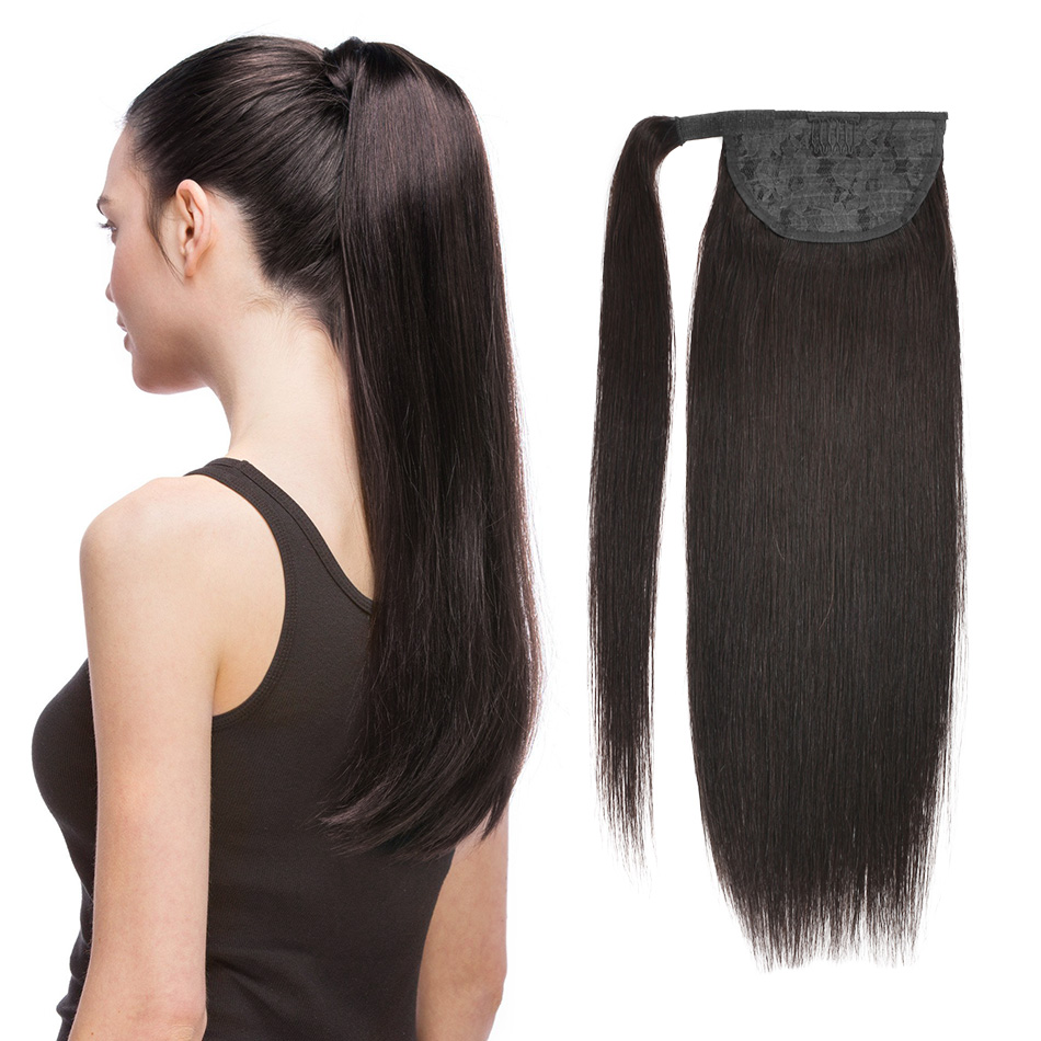 Ponytail Human Hair Machine Remy Straight European Ponytail Hairstyles 60g 100g 100% Natural Hair Clip In Extensions By BHF