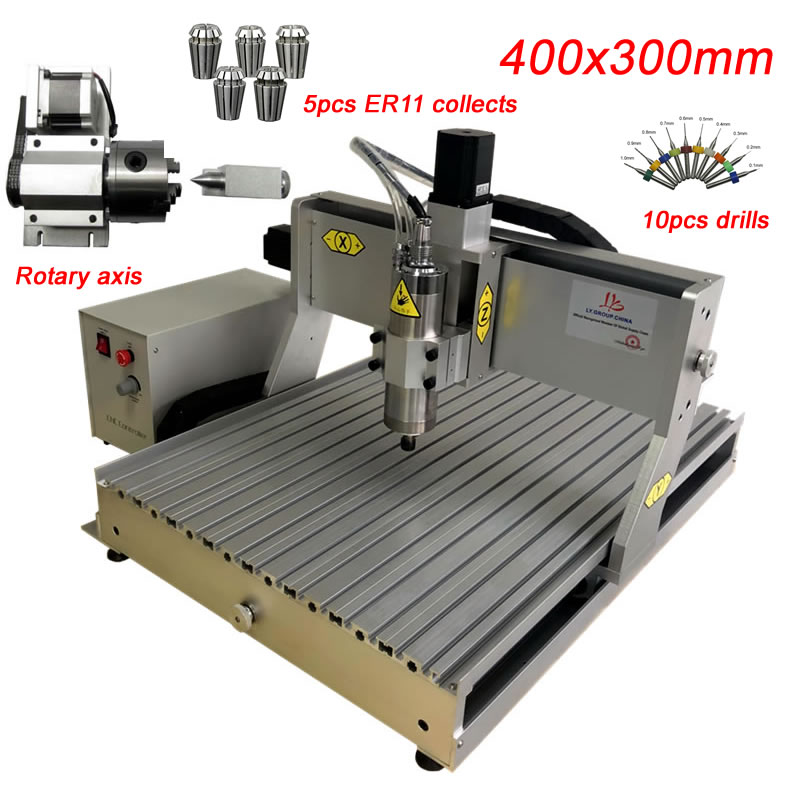 LY CNC 3040 800W 3Axis 4Axis Engraving Milling Drilling Cutting Machine ER11 Collects CNC Router Ball Screw Customized Z Stroke