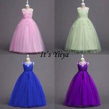 Это YiiYa платье с цветочным узором для девочек розовый зеленый синий пурпурный с кружевами Свадебные праздничные платья с О-образным вырезом с длинными Платья для церемонии причастия для девочек 832