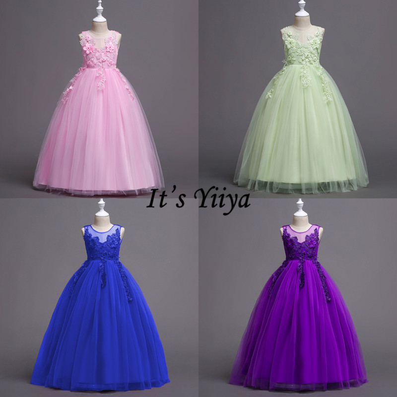 It's YiiYa Flower Girl Dress Pink Green Blue Purple Lace Kid Wedding Party Gowns O-neck Long Communion Dresses For Girls 832