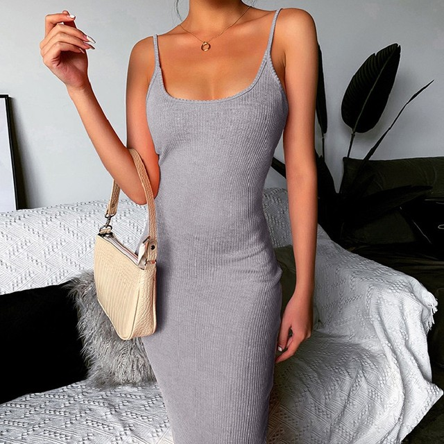 Slim Dress Summer Female Sexy Strapless Cotton Solid Dress Sling Long Dress Knitting Club Party Night Women Dressees Mujer L0330