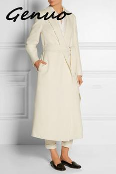 Genuo-abrigo largo clásico para Mujer, ropa de abrigo largo con cinturón, color...
