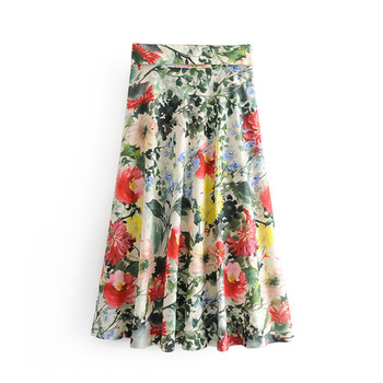 women floral print midi skirt sashes pleated back zipper fly design female stylish casual A line skirts stylish zipper and magnetic closure design wallet for women