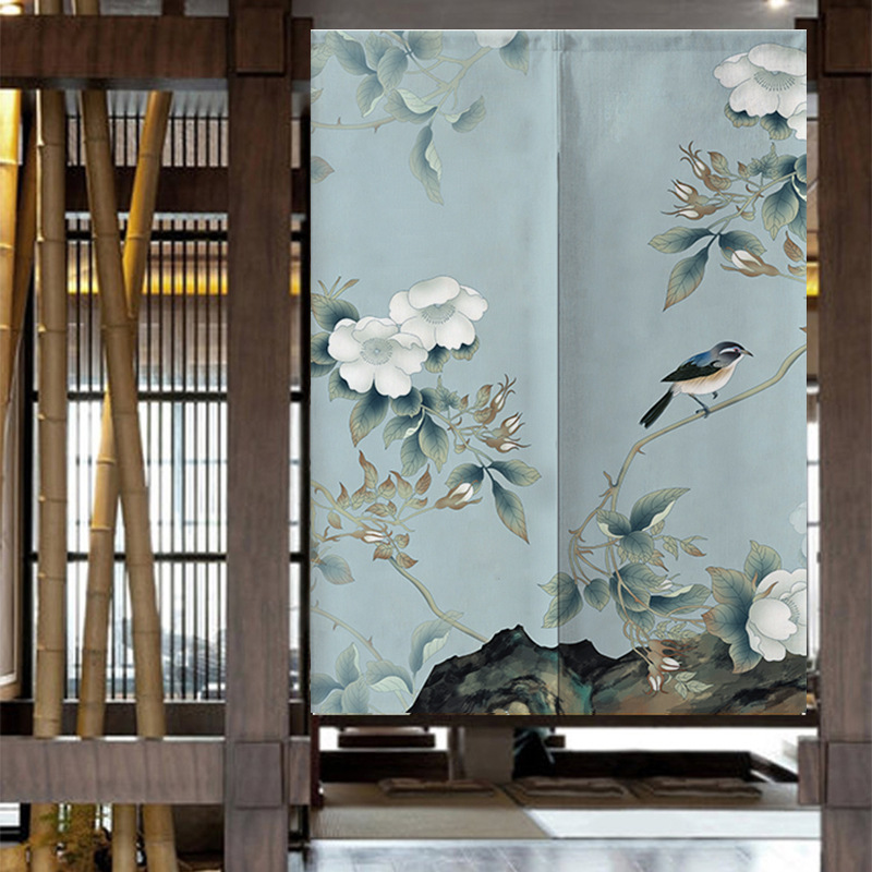 Chinese Classical Flowers and Birds Pattern Door Curtains Japanese Style Flowers Kitchen Partition Fabric Panels*NT