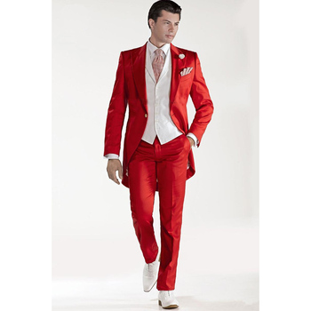 Custom Design Red Tailcoat Groom Tuxedos Peaked Lapel Best Men's Wedding Dress Prom Holiday Suit(Jacket+pants++Vest)
