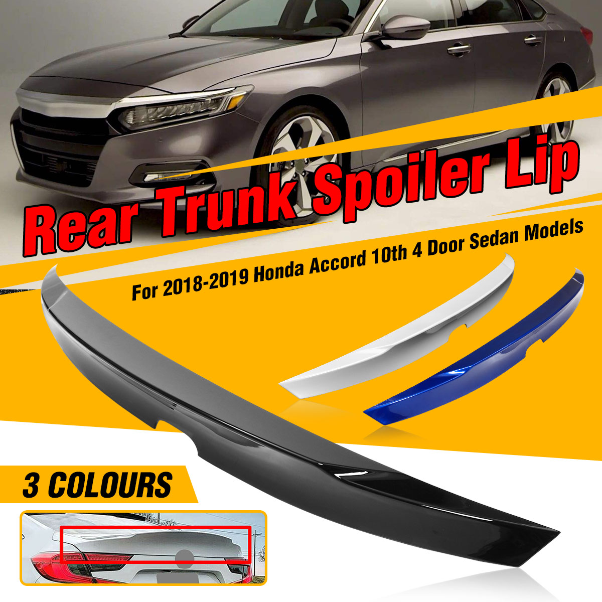 UNPAINTED REAR WING FACTORY STYLE SPOILER FOR A HONDA ACCORD 2-DOOR 2013-2017
