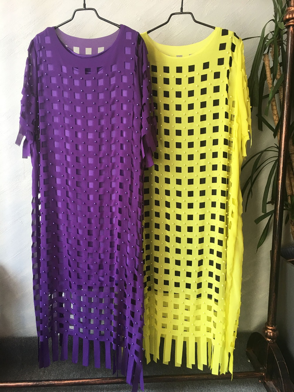 African Dresses For Women Plus Size Dress Loose Chiffon Hollow Out Dress Solid Purple Yellow Robe Party club Bust 150cm (15)