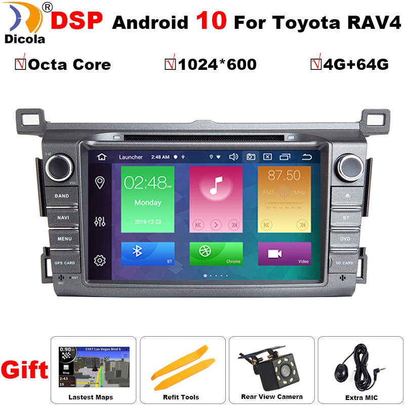 2din IPS Android 10 DSP car DVD player for <font><b>Toyota</b></font> <font><b>RAV</b></font> <font><b>4</b></font> 2013 <font><b>2014</b></font> <font><b>2015</b></font> <font><b>2016</b></font> <font><b>2017</b></font> Car radio multimedia GPS navigation wifi player image