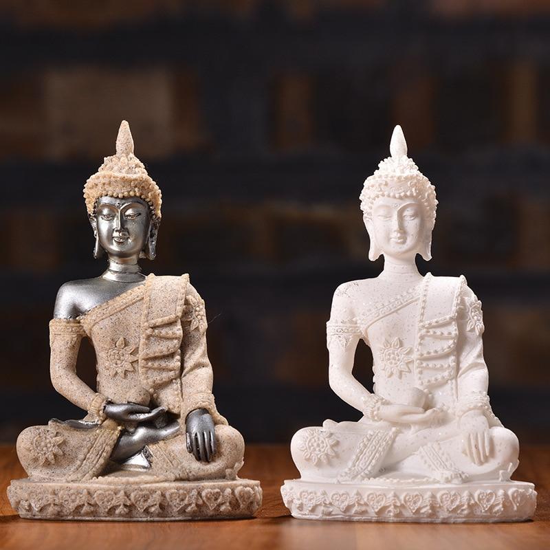 13 Style Buddha Statue Nature Sandstone Thailand Buddha Sculpture Hindu Fengshui Figurine Meditation Miniature Home Decoration