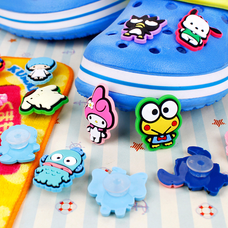 15Pcs/Set PVC Shoe Decorations Cartoon Animals Garden Shoe Croc Charm Cute Frog Shoe Accessories For JIBZ/ Wristbands Kids X-mas