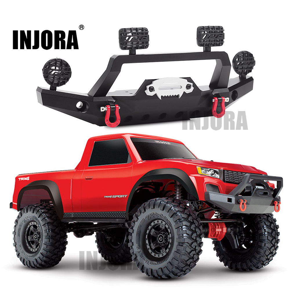 INJORA TRX-4 Metal Front Bumper With Led Light For 1/10 RC Crawler Traxxas TRX4 Sport 82024-4 Parts